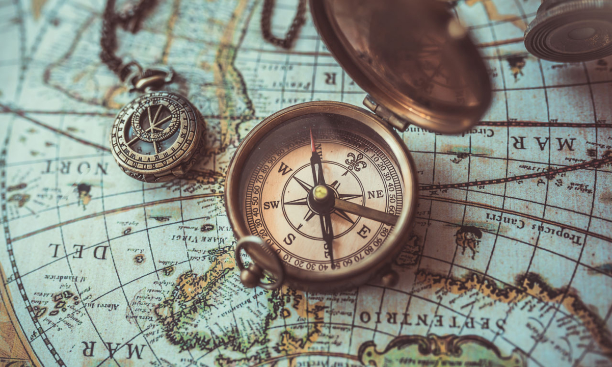 Geography Trivia Game - world map with compass